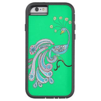 緑のレトロのカラフルなファンタジーの孔雀のスケッチ TOUGH XTREME iPhone 6 ケース