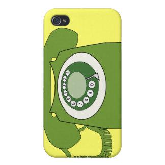 緑のレトロのスタイルのダイヤルの電話-レトロは行きます! iPhone 4 CASE