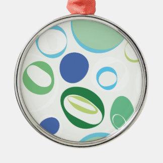 緑のレトロの水玉模様 メタルオーナメント
