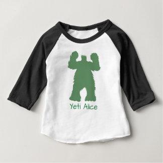 緑のレトロの雪男のイラストレーション ベビーTシャツ