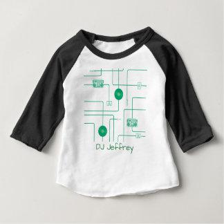 緑のレトロ音楽イラストレーション ベビーTシャツ