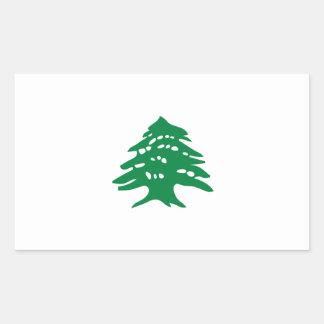緑のレバノンのヒマラヤスギ木の旗 長方形シール