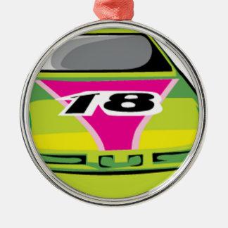 緑のレースカー メタルオーナメント