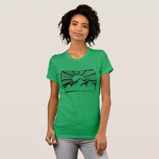 緑のロドニーリッジ山のロゴの女性のTシャツ Tシャツ