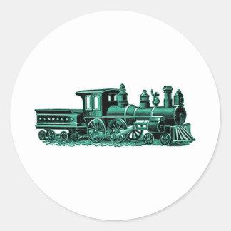緑のヴィンテージの列車 ラウンドシール