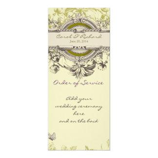 緑のヴィンテージの花柄の結婚式プログラム カード