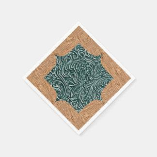 緑のヴィンテージScrollworkの陰 + バーラップのデザイン スタンダードカクテルナプキン