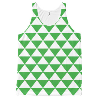 緑の三角形パターン オールオーバープリントタンクトップ