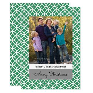 緑の上品なダイヤモンドの休日の写真の平らなカード カード