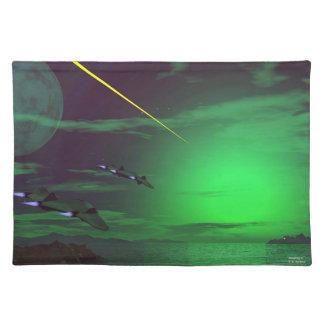 緑の世界の空想科学小説の行動空間のランチョンマット ランチョンマット