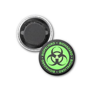 緑の二か国語の生物学的災害[有害物質]の警告 マグネット