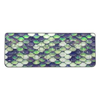 緑の人魚の皮パターン ワイヤレスキーボード