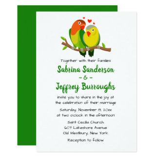 緑の仲の良い恋人同士の結婚式招待状-愛鳥 カード
