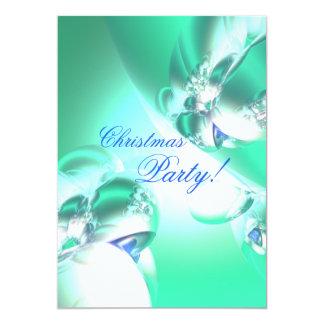 緑の休日のサテンのクリスマス・パーティ カード