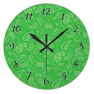 緑の休日Paisely ラージ壁時計