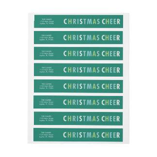 緑の住所覆いのラベルのクリスマスの応援の陰 ラップアラウンド宛名ラベル