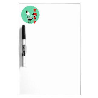 緑の円D E板の2017年のオンドリ年 ホワイトボード