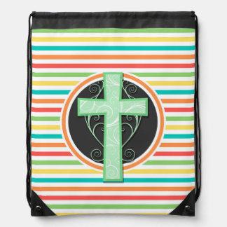 緑の十字; 明るい虹は縞で飾ります ナップサック