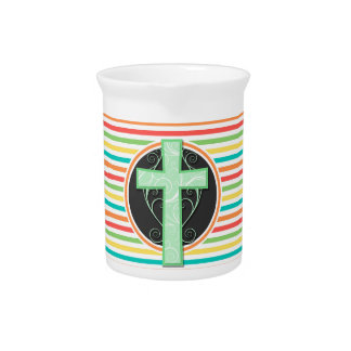 緑の十字; 明るい虹は縞で飾ります ピッチャー