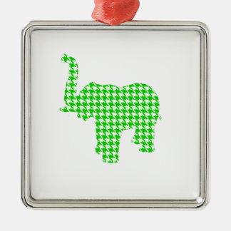 緑の千鳥格子のな象 メタルオーナメント