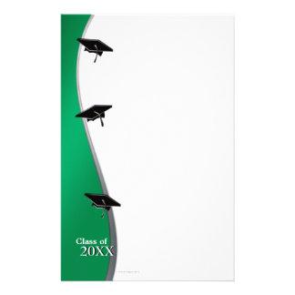 緑の卒業のノートのペーパー文房具 便箋