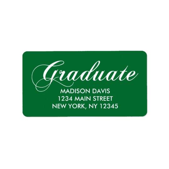 緑の卒業の宛名ラベル ラベル