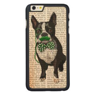 緑の口ひげが付いているボストンテリアおよびむらがある CarvedメープルiPhone 6 PLUS スリムケース
