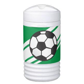 緑の名前入りなサッカーのイグルーのベバレッジクーラー ドリンククーラー