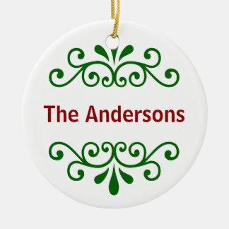 緑の名前入りな一流のクリスマスのオーナメント セラミックオーナメント