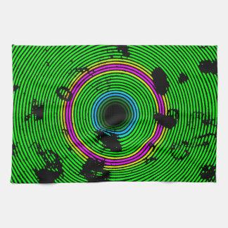 緑の多彩なビニールディスク質パターン ハンドタオル