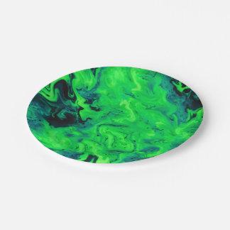 緑の大理石のアクリルの絵画 ペーパープレート