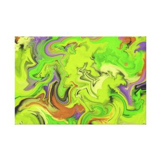 緑の大理石の抽象美術 キャンバスプリント