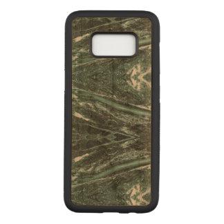 緑の大理石の石造りの質木製のSamsungは包装します Carved Samsung Galaxy S8 ケース