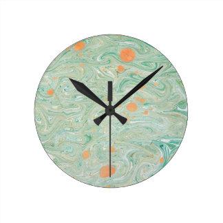 緑の大理石 ラウンド壁時計