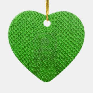緑の大蛇のスネークスキンの質 セラミックオーナメント