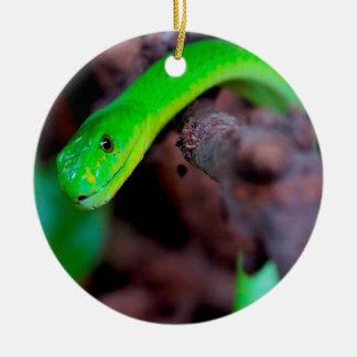 緑の大蛇のヘビ セラミックオーナメント