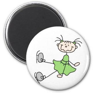 緑の女の子のスケート選手の磁石 マグネット