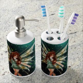 緑の妖精の歯ブラシスタンド及びソープディスペンサー バスセット