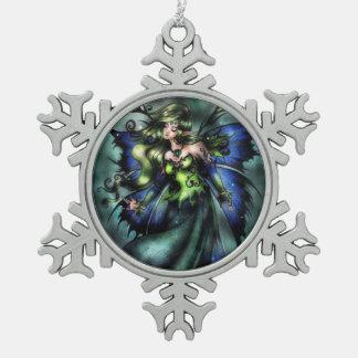 緑の妖精の雪片のオーナメント スノーフレークピューターオーナメント