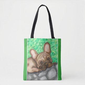 緑の子鹿のフレンチ・ブルドッグの戦闘状況表示板 トートバッグ