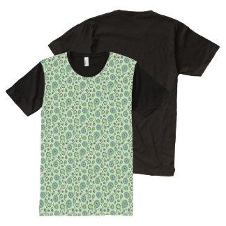 緑の孔雀のペイズリー オールオーバープリントT シャツ