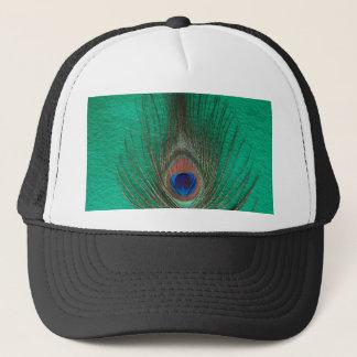 緑の孔雀の羽の帽子 キャップ