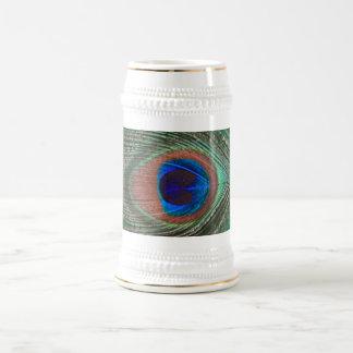 緑の孔雀の羽ステイン ビールジョッキ