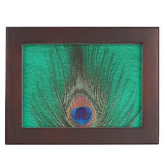緑の孔雀の羽 ジュエリーボックス