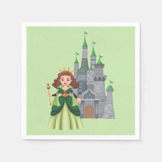 緑の小さいプリンセスそして城 スタンダードカクテルナプキン