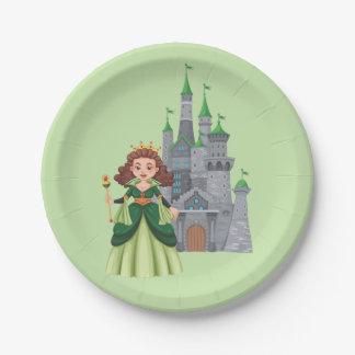 緑の小さいプリンセスそして城 ペーパープレート