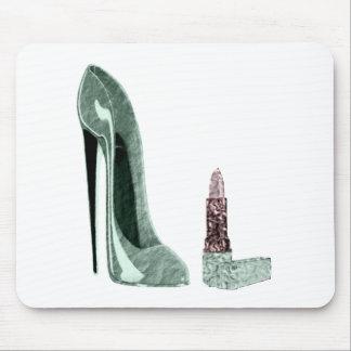 緑の小剣の靴および口紅の芸術 マウスパッド