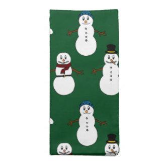 緑の布のナプキンの白くかわいい雪だるまのクリスマス ナプキンクロス