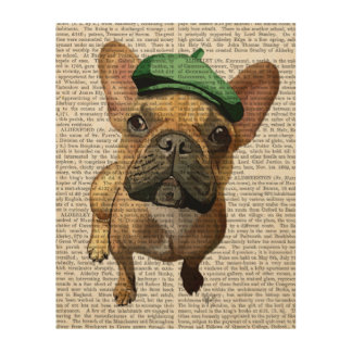 緑の帽子を持つブラウンのフレンチ・ブルドッグ ウッドウォールアート