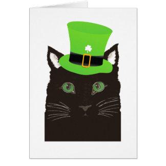 緑の帽子を身に着けているセントパトリックの日の黒猫 カード